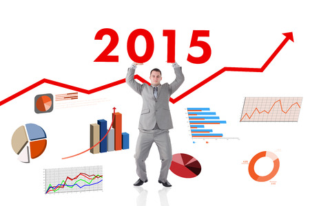 upward struggle: Portrait of a businessman pushing the roof against red arrow Stock Photo