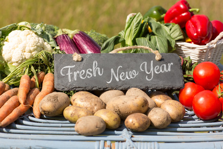 country living: Fresh New Year against vegetables at farmers market
