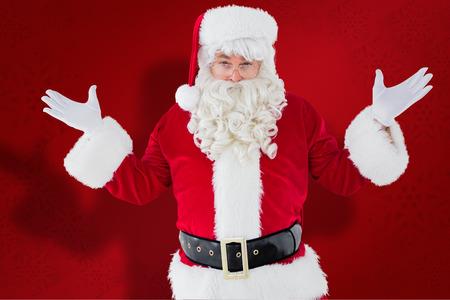 perplexed: Portrait of perplexed santa against red snowflake background Stock Photo