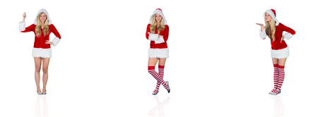 pere noel sexy: Composite image of pretty girl in santa outfit holding hand up