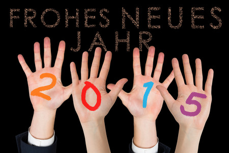 neues: Business peoples hands against glittering frohes neues jahr