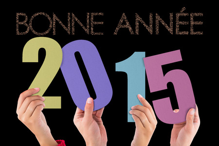 bonne: Hands holding poster against glittering bonne annee Stock Photo