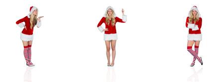 pere noel sexy: Image composite de jolie fille � santa tenue soufflant Banque d'images