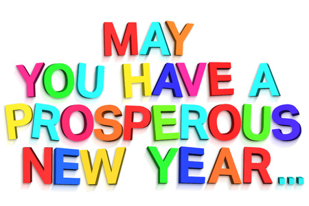 prosper: New year greeting in colourful letters on white background