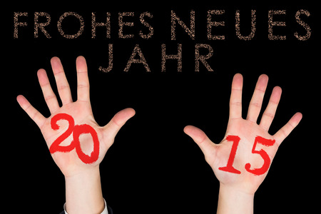 jahr: Hands against glittering frohes neues jahr Stock Photo