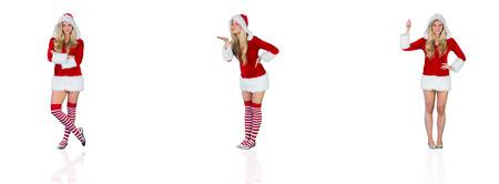 pere noel sexy: Image composite de jolie fille à santa tenue avec les bras croisés