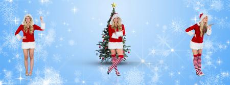 pere noel sexy: Jolie fille à santa costume tenant la main contre la conception de flocon de neige blanc sur fond bleu