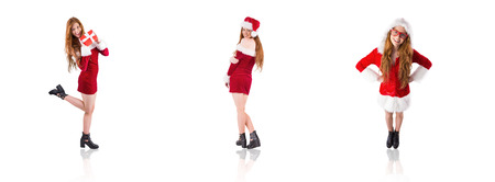 pere noel sexy: Image composite de rousse festive tenant un cadeau