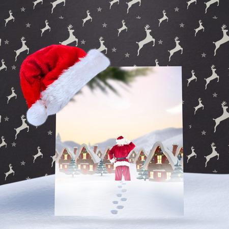 grey pattern: Santa delivery presents to village against grey reindeer pattern