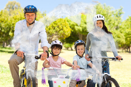 house outline: Family with their bikes against house outline in clouds