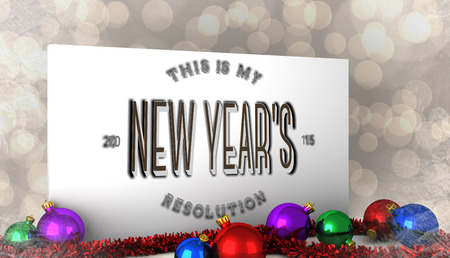 new years resolution: New years resolution against poster with baubles