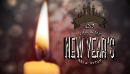 new years resolution: New years resolution against candle burning against festive background