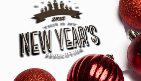 new years resolution: New years resolution against red christmas baubles Stock Photo