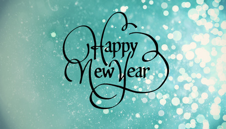 text year: Happy new year against light design shimmering on blue Stock Photo