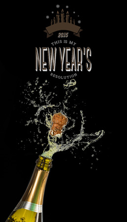 new years resolution: New years resolution against champagne popping Stock Photo