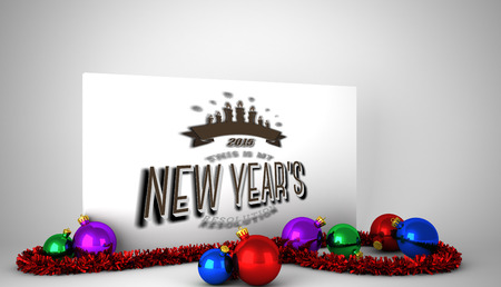 new years resolution: New years resolution against poster with colourful christmas decorations