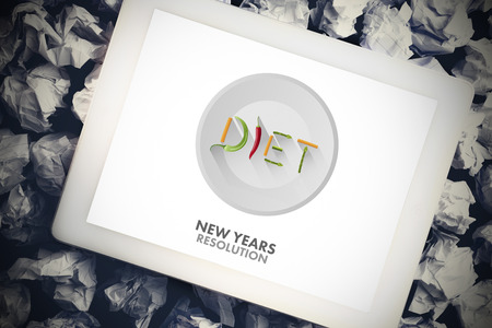 new years resolution: Diet new years resolution against tablet pc