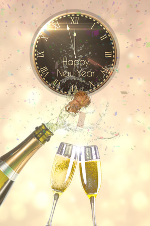 popping: Flying colours against champagne popping