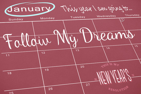 aspirational: Composite image of new years resolutions on january calendar Stock Photo
