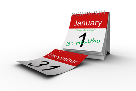 aspirational: This year I will against december page falling from calendar
