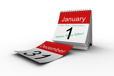 new years resolution: new years resolution against december page falling from calendar Stock Photo