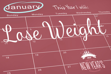 new years: Composite image of new years resolutions on january calendar Stock Photo