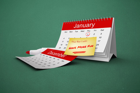 new years resolutions: Composite image of new years resolutions on january calendar Stock Photo