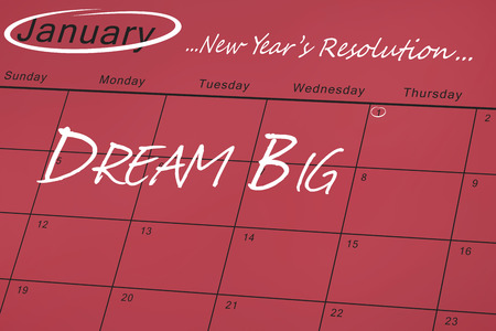 resolution: new years resolution against january calendar
