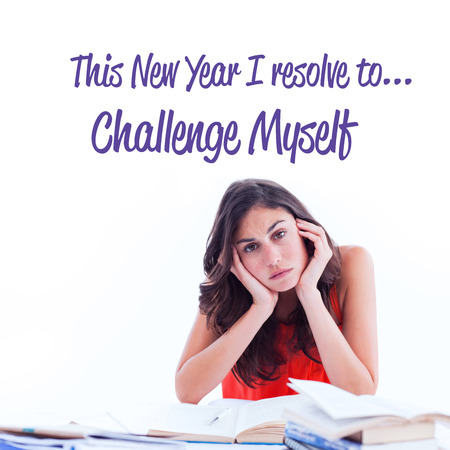 resolve: in this new year I resolve to against stressed student at desk
