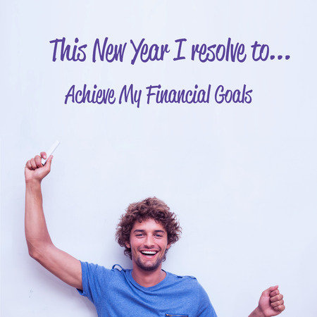 resolve: in this new year I resolve to against happy student holding chalk Stock Photo