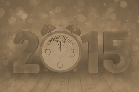 abstract alarm clock: 2015 with alarm clock against blue abstract light spot design Stock Photo
