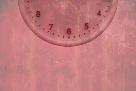 peinture rouge: Clock at midnight against red paint splashed surface