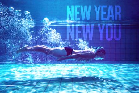 fitness: Treinamento do nadador Fit por si mesmo contra Novo Ano Novo você Imagens