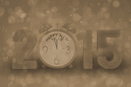abstract alarm clock: 2015 with alarm clock against grey abstract light spot design Stock Photo