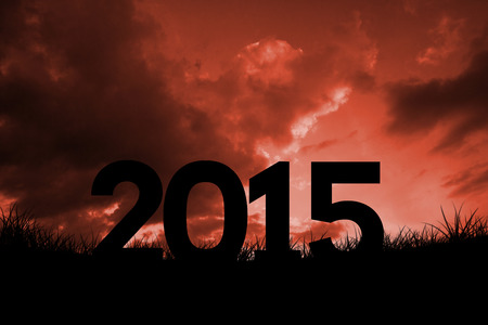 red sky: 2015 against red sky over grass Stock Photo