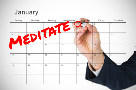 resolutions: Composite image of new years resolutions on january calendar Stock Photo