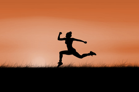 sun rising: Fit brunette running and jumping against sun rising Stock Photo