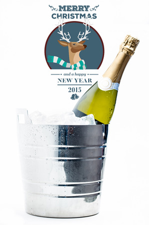 ice bucket: Hipster christmas message against bottle of champagne chilling in ice bucket