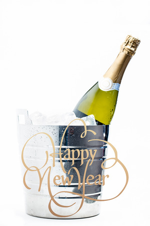 ice bucket: Happy new year against bottle of champagne chilling in ice bucket