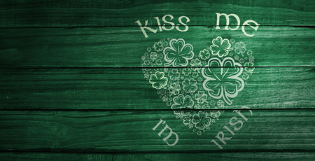 me: patricks day greeting against overhead of wooden planks Stock Photo