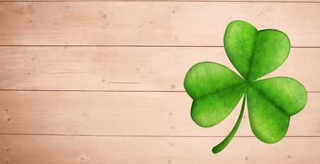 saint patty: Shamrock against overhead of wooden planks