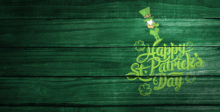 saint patricks: patricks day greeting against overhead of wooden planks Stock Photo