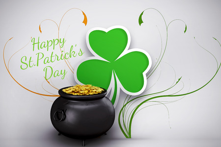 st  patty: happy st patricks day against shamrock design