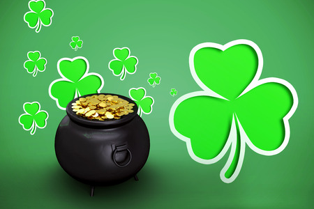 gold: pot of gold against green shamrocks on green background