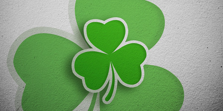 st  patty: Green shamrock design on grey wall