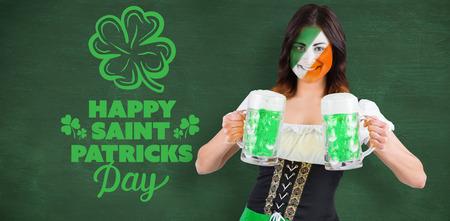 green chalkboard: Irish girl with beer against green chalkboard