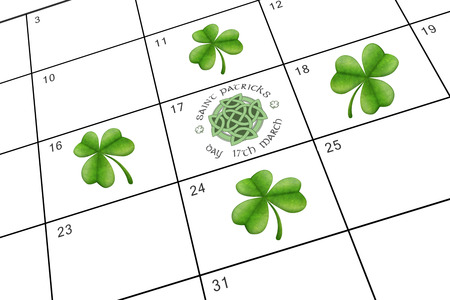 saint patty: Shamrock against january calendar