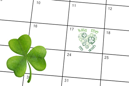 saint patty: Shamrock against january calendar