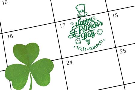 saint patty: patricks day greeting against january calendar Stock Photo