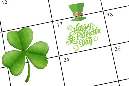 saint patty: patricks day greeting against january calendar Stock Photo